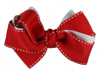 Double Layer Red and White Hair Bow