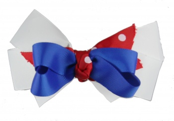 Patriotic Red White Blue Polka Dots Bow