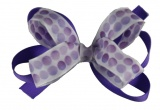 Purple and White Polka Dot Bow