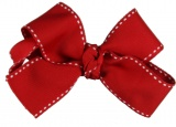 Red with White Saddle Stitch Lines Hair Bow