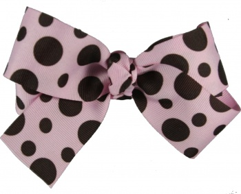 Chocolate Brown Pink Polka Dot Bow