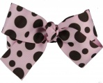 Chocolate Brown Pink Polka Dot Bow