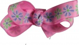 Pink with Flowers Hair Bow
