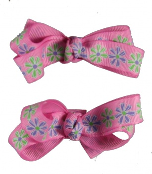 Piggy Tails Pink with Flowers Hair Bow