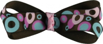 Brown and Pink Polka Dot Bow