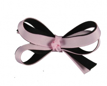 Double Pink and Black Baby Hair Bow