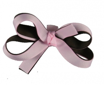 Double Pink and Brown Baby Hair Bow