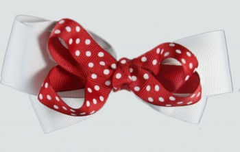 Double White and Red with White Polka Dots Hair Bow