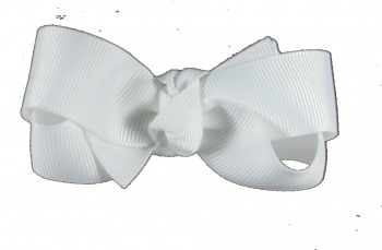 White Grosgrain Small Hair Bow