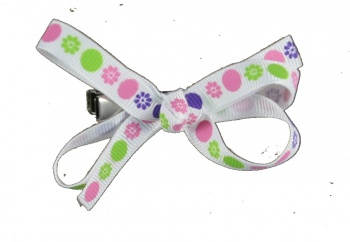 Baby Pink and Lime Green Polka Dots Bow