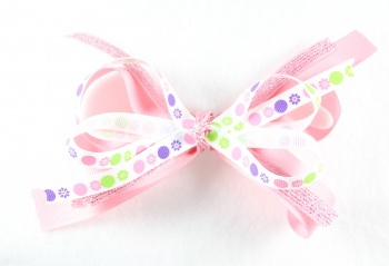 Pink Sparkles Dots and Flowers Hair Bow