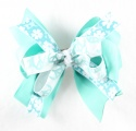 Peace Sign Flowers Turquoise Hair Bow
