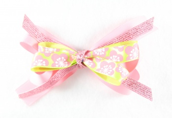 Sparkling Pink Flowers Hair Bow
