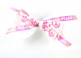 Peace Sign White Pink Hair Bow