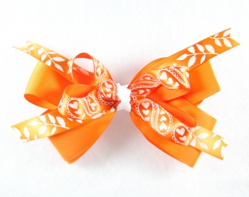 Orange Hearts and Leaves Hair Bow