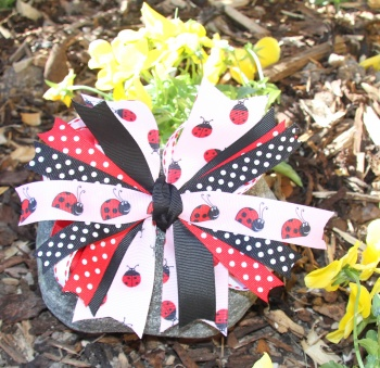 Red and Pink Ladybug Polka Dots Pinwheel Hair Bow