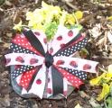 Red and Pink Ladybug Polka Dots Pinwheel Hair Bow