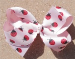 Ladybugs Red Black Pink Boutique Bow