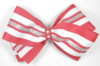 Red White Silver Star Patriotic Hair Bow