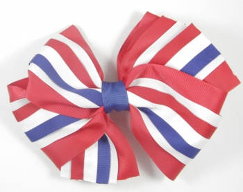 Large Red White and Blue Striped Hair Bow