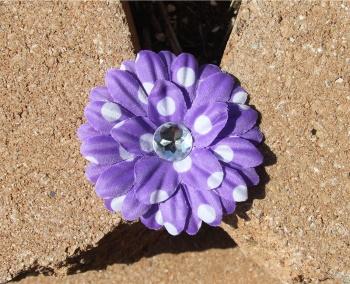 Lavender Polka Dots Daisy Flower Hair Clip