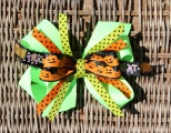 Lime Green with Pumpkins Halloween Hair Bow