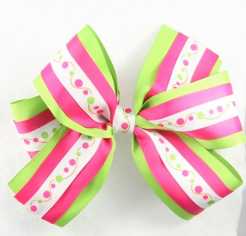 Lime Green Hot Pink Polka Dots Layered Hair Bow