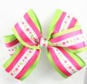 Lime Green Hot Pink Polka Dots Layered Hair Bow