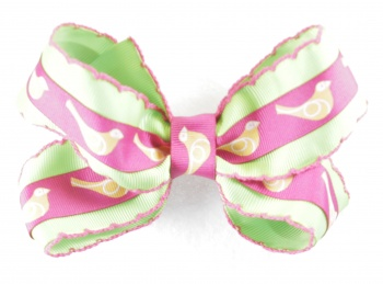 Lime Green Pink Bird Hair Bow