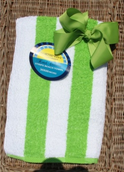 Matching Lime Green Hair Bow and Beach Towel Set