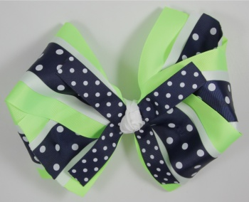 Oversized Lime Green Blue Polka Dots Hair Bow