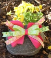 Lime Green Pink Flowers Hair Bow