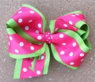 Lime Green Hot Pink Polka Dot Hair Bow