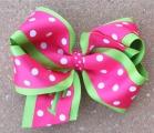 Lime Green Hot Pink Polka Dot Hair Bow