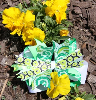 Emerald Green Flower Paisley Pinwheel Hair Bow
