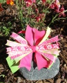 Lime Green and Hot Pink Flowers Pinwheel Hair Bow