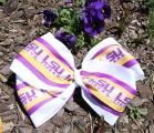 LSU Tiger Fan Hair Bow Oversized Quadrupled Layers