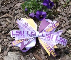 Purple Yellow Gold Pinwheel Hair Bow for Tiger Fans