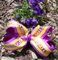 Purple Yellow Gold LSU Spirit Hair Bow