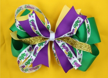 Mardi Gras Hair Bow Green Purple Yellow Pinwheel