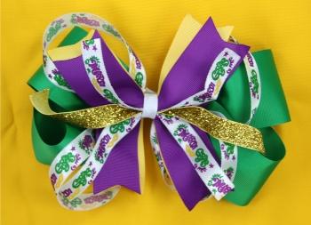 Mardi Gras Hair Bow Green Purple Yellow Pinwheel
