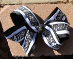 Music Notes Black and White Hair Bow