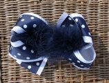 Navy White Polka Dot Feather Boa Bow