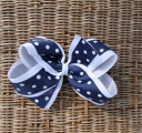 Navy White Polka Dot Grosgrain Bow