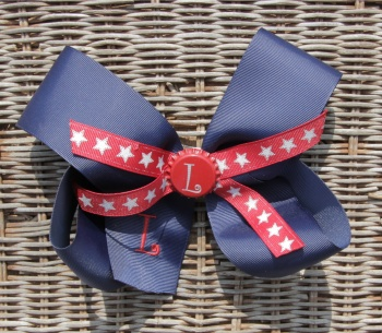 Engraved Bottle Cap Navy Star Patriotic Hair Bow