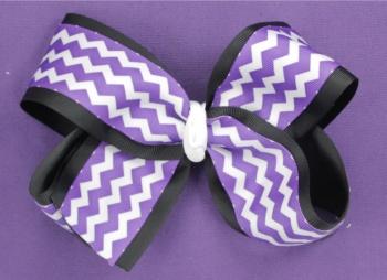 Purple Chevron Black White Hair Bow