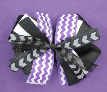 Purple Chevron Black White Pinwheel Hair Bow