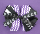 Purple Chevron Black White Pinwheel Hair Bow