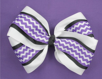 Purple Chevron Black White Big Hair Bow