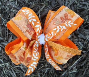 Orange Leaf Double Layered Autumn Hair Bow